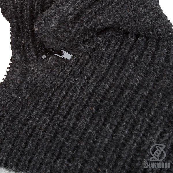 Shakaloha Shakaloha Wolljacke - Strickjacke Dub Graues Anthrazit mit Fleece-Futter und Abnehmbarer Kapuze - Herren - Uni - Handgemacht in Nepal aus Schafwolle