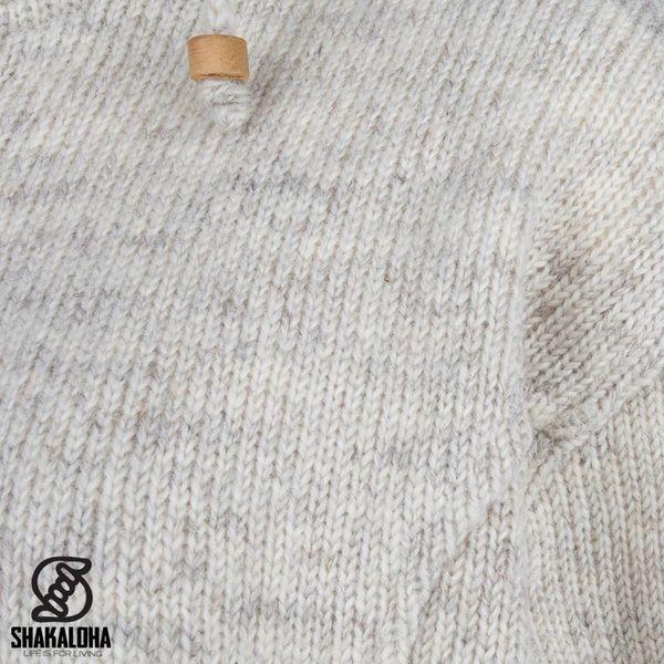 Shakaloha Shakaloha Knitted Woolen Jacket Baltonic Beige Cream with Fleece Lining and Detachable Hood - Woman - Handmade in Nepal from sheep's wool