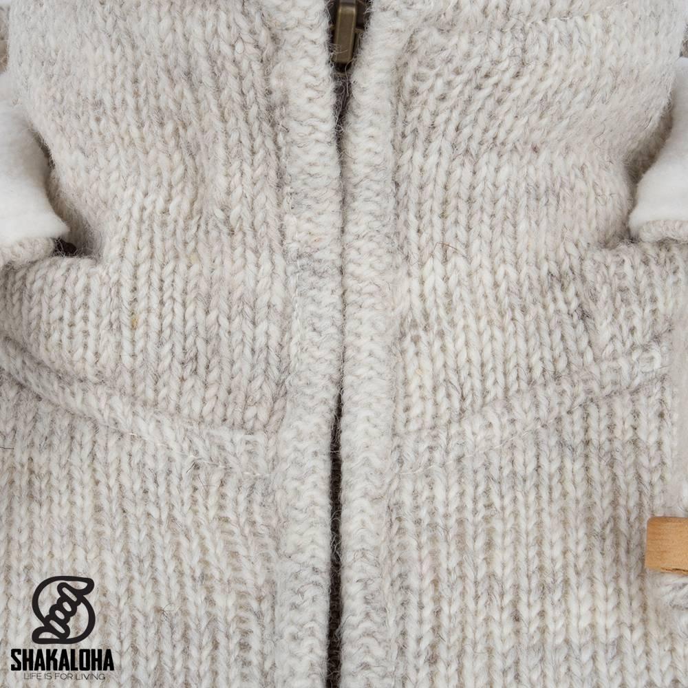 Shakaloha Shakaloha Gebreid Wollen Vest Baltonic Beige Crème met Fleece Voering en Afneembare Capuchon - Dames - Handgemaakt in Nepal van Schapenwol