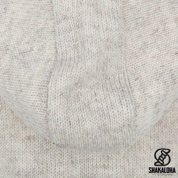 Shakaloha Shakaloha Wolljacke - Strickjacke Baltonic Beige Creme mit Fleece-Futter und Abnehmbarer Kapuze - Damen - Handgemacht in Nepal aus Schafwolle