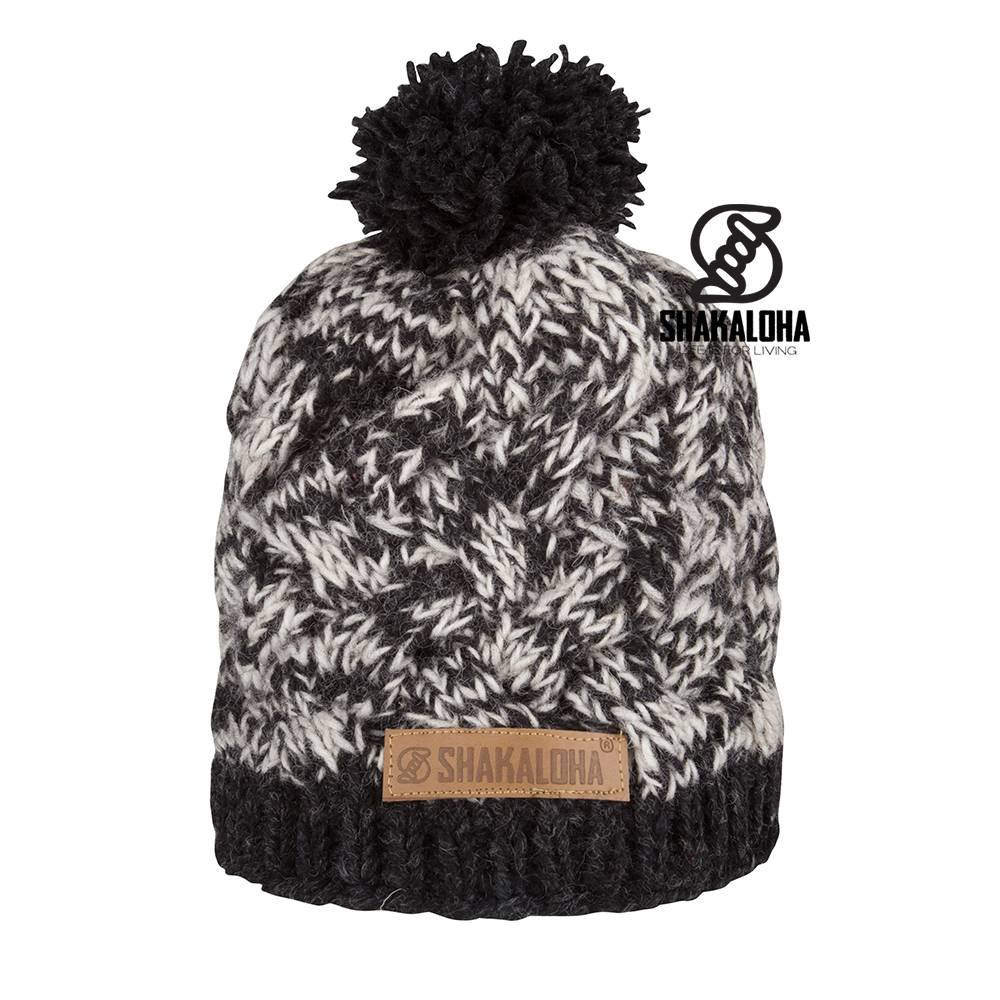 Shakaloha Knitted Wool Hat with Pompom with Fleece Inner Lining. Made in Nepal. Winter warm, summer cool.