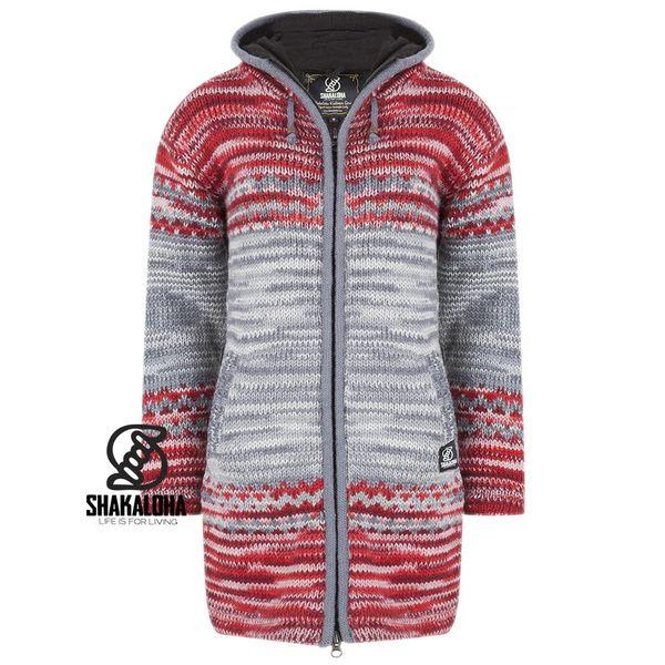 Shakaloha Shakaloha Gebreid Wollen Vest Fling Grijs Rood met Fleece Voering en Capuchon - Dames - Handgemaakt in Nepal van Schapenwol