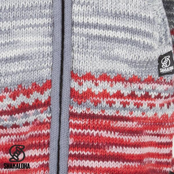 Shakaloha Shakaloha Veste en Laine Tricoté Fling Gris rouge avec Doublure en polaire et Capuche - Femmes - Fabriqué à la main au Népal en laine de mouton
