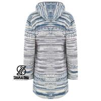 Shakaloha Shakaloha Gebreid Wollen Vest Fling Grijs Blauw met Fleece Voering en Capuchon - Dames - Handgemaakt in Nepal van Schapenwol