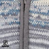 Shakaloha Shakaloha Knitted Woolen Jacket Fling Grey blue with Fleece Lining and Hood - Woman - Handmade in Nepal from sheep's wool