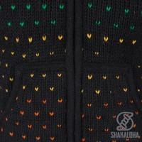 Shakaloha Shakaloha Gebreid Wollen Vest Disco Zwart Gekleurd met Fleece Voering en Capuchon met Binnenkraag - Dames - Handgemaakt in Nepal van Schapenwol