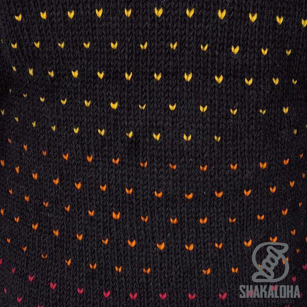 Shakaloha Shakaloha Wolljacke - Strickjacke Disco Schwarz gefärbt mit Fleece-Futter und Kapuze mit Innenkragen - Damen - Handgemacht in Nepal aus Schafwolle