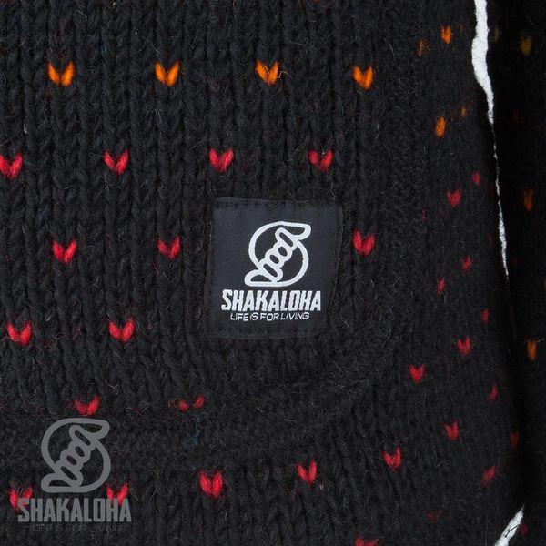 Shakaloha Shakaloha Veste en Laine Tricoté Disco De couleur noire avec Doublure en polaire et Capuche avec col intérieur - Femmes - Fabriqué à la main au Népal en laine de mouton