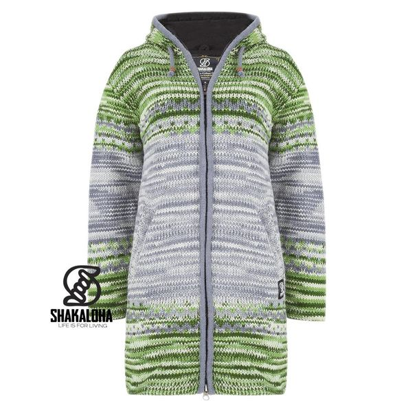 Shakaloha Shakaloha Knitted Woolen Jacket Fling Gray Green with Fleece Lining and Hood - Woman - Handmade in Nepal from sheep's wool