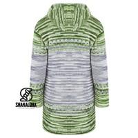 Shakaloha Shakaloha Wolljacke - Strickjacke Fling Grau Grün mit Fleece-Futter und Kapuze - Damen - Handgemacht in Nepal aus Schafwolle