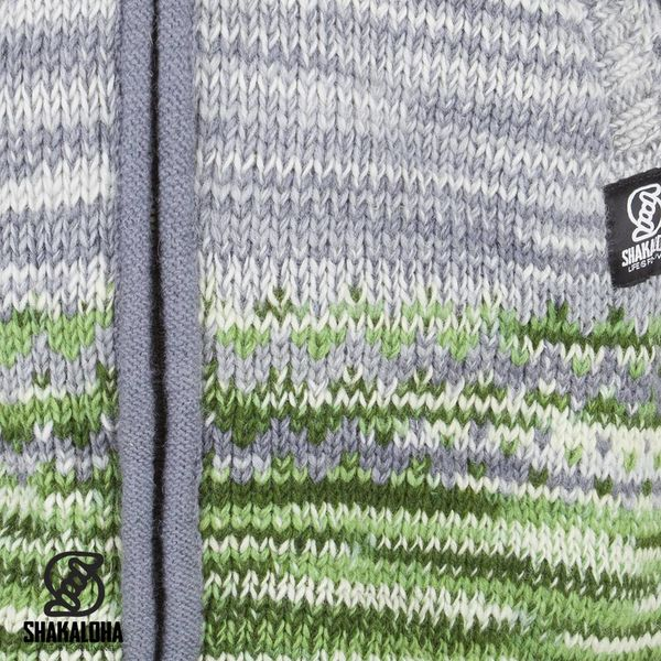 Shakaloha Shakaloha Gebreid Wollen Vest Fling Grijs Groen met Fleece Voering en Capuchon - Dames - Handgemaakt in Nepal van Schapenwol