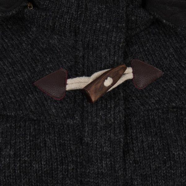 Shakaloha Shakaloha Knitted Woolen Jacket Cody Anthracite with Fleece Lining and Detachable Hood - Woman - Handmade in Nepal from sheep's wool