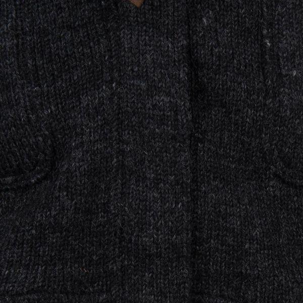 Shakaloha Shakaloha Wolljacke - Strickjacke Cody Anthrazit mit Fleece-Futter und Abnehmbarer Kapuze - Damen - Handgemacht in Nepal aus Schafwolle