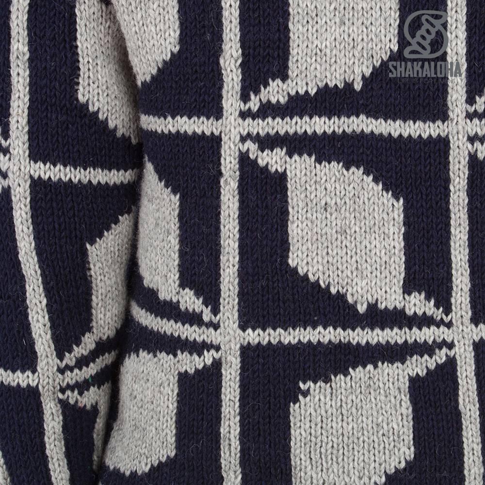 Shakaloha Shakaloha Gebreid Wollen Vest Biscuit ZH Navy Blauw Grijs met Fleece Voering en Capuchon met Binnenkraag - Man/Uni - Handgemaakt in Nepal van Schapenwol