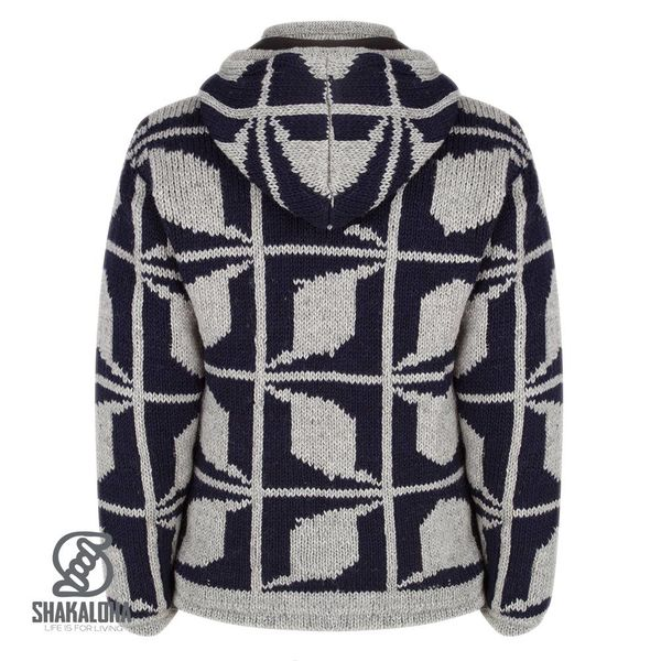 Shakaloha Shakaloha Knitted Woolen Jacket Biscuit ZH Navy Blue Gray with Fleece Lining and Hood with inner collar - Men - Unisex - Handmade in Nepal from sheep's wool