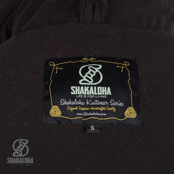 Shakaloha Shakaloha Wolljacke - Strickjacke Biscuit ZH Marineblau Grau mit Fleece-Futter und Kapuze mit Innenkragen - Herren - Uni - Handgemacht in Nepal aus Schafwolle