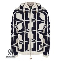 Shakaloha Shakaloha Knitted Woolen Jacket Biscuit ZH Navy Blue White with Fleece Lining and Hood with inner collar - Men - Unisex - Handmade in Nepal from sheep's wool
