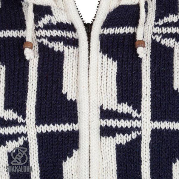 Shakaloha Shakaloha Gebreid Wollen Vest Biscuit ZH Navy Blauw Wit met Fleece Voering en Capuchon met Binnenkraag - Man/Uni - Handgemaakt in Nepal van Schapenwol