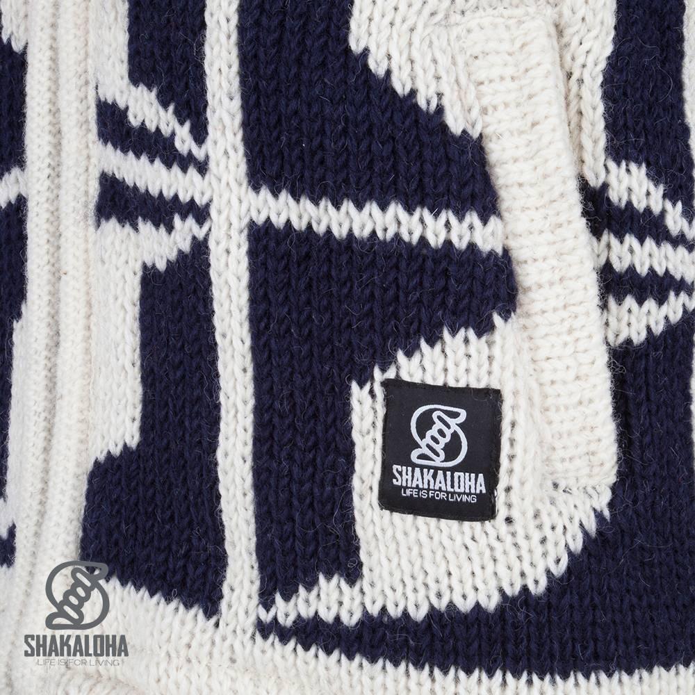 Shakaloha Shakaloha Wolljacke - Strickjacke Biscuit ZH Marineblau Weiß mit Fleece-Futter und Kapuze mit Innenkragen - Herren - Uni - Handgemacht in Nepal aus Schafwolle