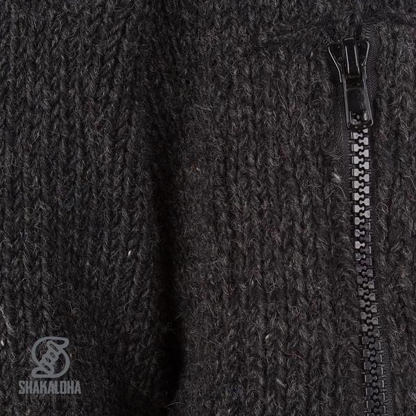 Shakaloha Crush Ziphood Anthrazitfarbene Wolljacke mit abnehmbarer Kapuze