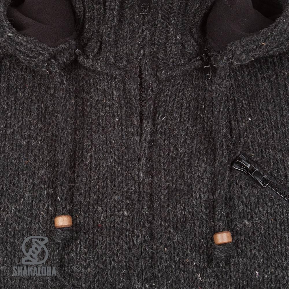 Shakaloha Shakaloha Wolljacke - Strickjacke Crush Ziphood Anthrazit mit Fleece-Futter und Abnehmbarer Kapuze - Herren - Uni - Handgemacht in Nepal aus Schafwolle