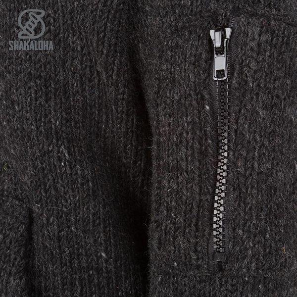 Shakaloha Shakaloha Knitted Woolen Jacket Crush Ziphood Anthracite with Fleece Lining and Detachable Hood - Men - Unisex - Handmade in Nepal from sheep's wool
