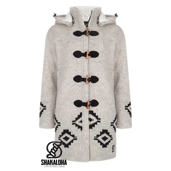 Shakaloha Shakaloha Wolljacke - Strickjacke Wander Beige Creme mit Fleece-Futter und Abnehmbarer Kapuze - Damen - Handgemacht in Nepal aus Schafwolle