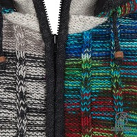 Shakaloha Shakaloha Knitted Woolen Jacket Rib Patch ZH Mixed Multicolor with Fleece Lining and Detachable Hood - Woman - Handmade in Nepal from sheep's wool