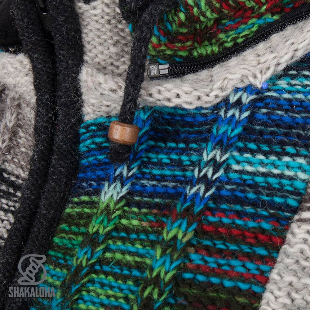 Shakaloha Shakaloha Gebreid Wollen Vest Rib Patch ZH Gemixte Meerkleurig Bont met Fleece Voering en Afneembare Capuchon - Dames - Handgemaakt in Nepal van Schapenwol