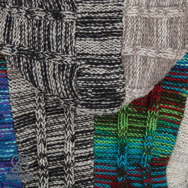 Shakaloha Shakaloha Wolljacke - Strickjacke Rib Patch ZH Gemischtes mehrfarbiges Fell mit Fleece-Futter und Abnehmbarer Kapuze - Damen - Handgemacht in Nepal aus Schafwolle