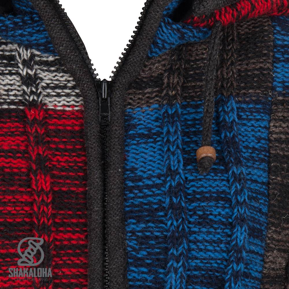 Shakaloha Shakaloha Gebreid Wollen Vest Rib Patch ZH Zwart Blauw Rood met Fleece Voering en Afneembare Capuchon - Dames - Handgemaakt in Nepal van Schapenwol