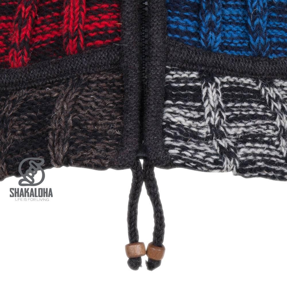 Shakaloha Shakaloha Veste en Laine Tricoté Rib Patch ZH Noir Bleu Rouge avec Doublure en polaire et Capuche détachable - Femmes - Fabriqué à la main au Népal en laine de mouton