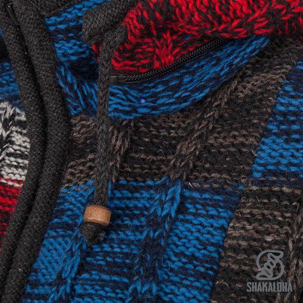 Shakaloha Shakaloha Wolljacke - Strickjacke Rib Patch ZH Schwarz Blau Rot mit Fleece-Futter und Abnehmbarer Kapuze - Damen - Handgemacht in Nepal aus Schafwolle