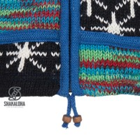 Shakaloha Shakaloha Knitted Woolen Jacket Patch ZH Multi-colored with Fleece Lining and Detachable Hood - Woman - Handmade in Nepal from sheep's wool