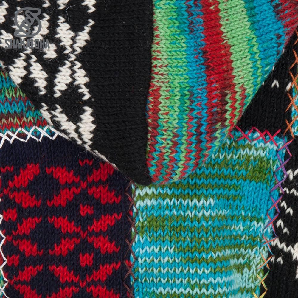 Shakaloha Shakaloha Veste en Laine Tricoté Patch ZH Multicolore avec Doublure en polaire et Capuche détachable - Femmes - Fabriqué à la main au Népal en laine de mouton
