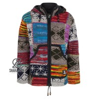 Shakaloha Shakaloha Knitted Woolen Jacket Patch ZH Mixed Multicolor with Fleece Lining and Detachable Hood - Woman - Handmade in Nepal from sheep's wool