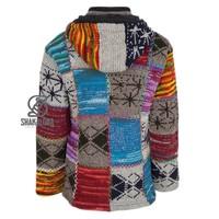 Shakaloha Shakaloha Gebreid Wollen Vest Patch ZH Gemixte Meerkleurig Bont met Fleece Voering en Afneembare Capuchon - Dames - Handgemaakt in Nepal van Schapenwol