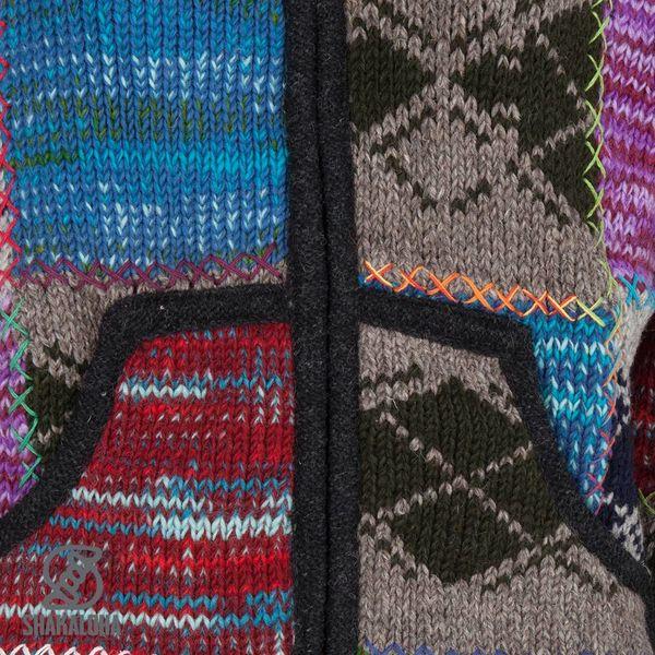Shakaloha Shakaloha Veste en Laine Tricoté Patch ZH Multicolore mixte avec Doublure en polaire et Capuche détachable - Femmes - Fabriqué à la main au Népal en laine de mouton