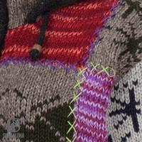 Shakaloha Shakaloha Wolljacke - Strickjacke Patch ZH Gemischtes mehrfarbiges Fell mit Fleece-Futter und Abnehmbarer Kapuze - Damen - Handgemacht in Nepal aus Schafwolle