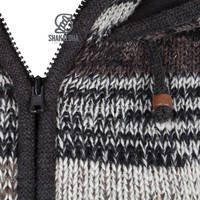 Shakaloha Shakaloha Knitted Woolen Jacket Shaker ZH Natural colors with Fleece Lining and Detachable Hood - Woman - Handmade in Nepal from sheep's wool