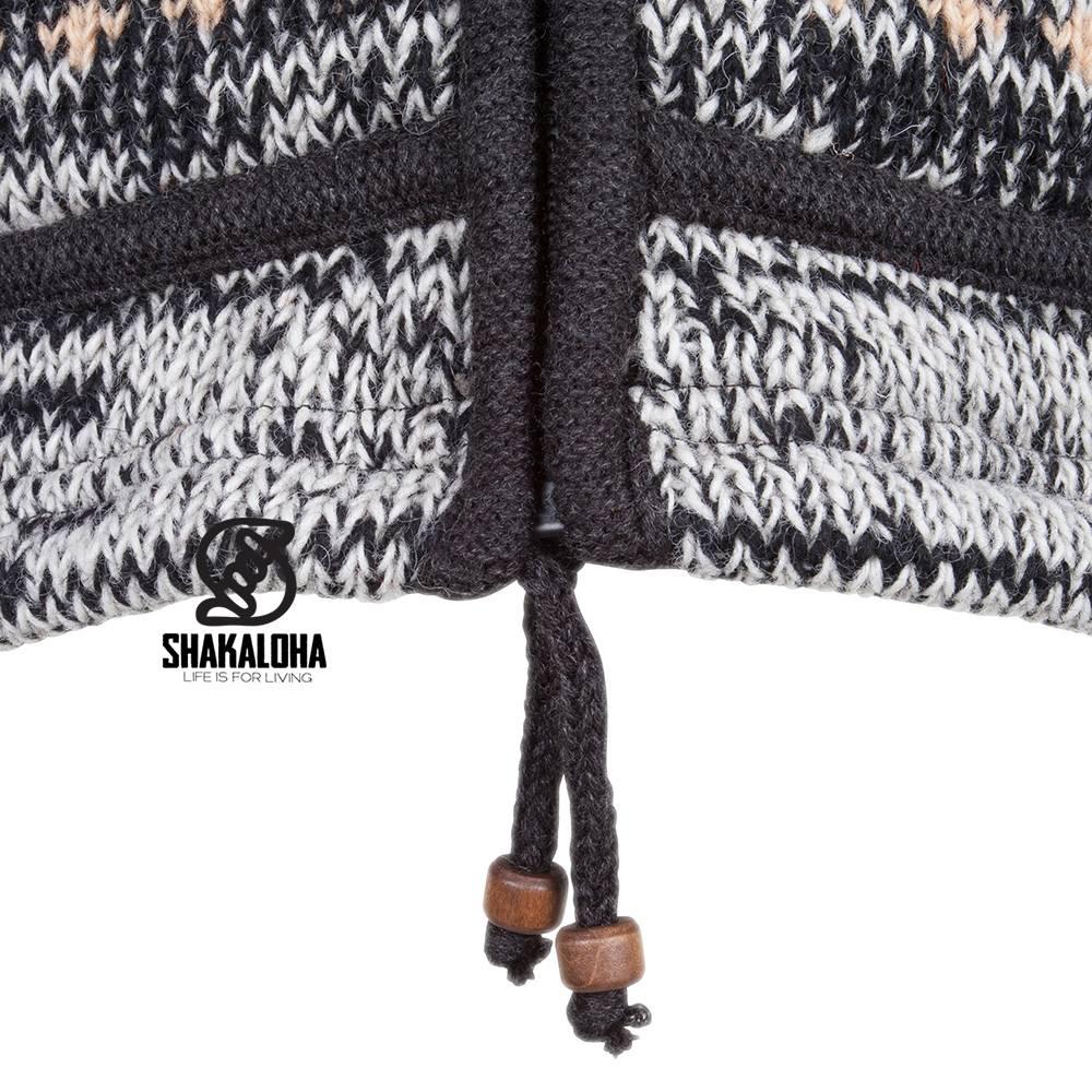 Shakaloha Shakaloha Wolljacke - Strickjacke Shaker ZH Natürliche Farben mit Fleece-Futter und Abnehmbarer Kapuze - Damen - Handgemacht in Nepal aus Schafwolle