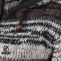 Shakaloha Shakaloha Veste en Laine Tricoté Shaker ZH Couleurs naturelles avec Doublure en polaire et Capuche détachable - Femmes - Fabriqué à la main au Népal en laine de mouton