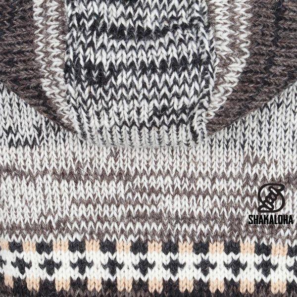 Shakaloha Shakaloha Gebreid Wollen Vest Shaker ZH Natuurkleuren met Fleece Voering en Afneembare Capuchon - Dames - Handgemaakt in Nepal van Schapenwol