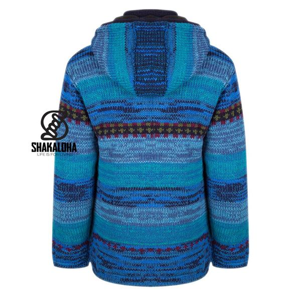 Shakaloha Shakaloha Gebreid Wollen Vest Shaker ZH Blauw met Fleece Voering en Afneembare Capuchon - Dames - Handgemaakt in Nepal van Schapenwol