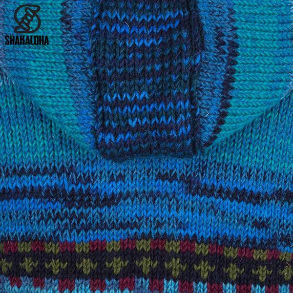 Shakaloha Shakaloha Knitted Woolen Jacket Shaker ZH Blue with Fleece Lining and Detachable Hood - Woman - Handmade in Nepal from sheep's wool