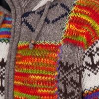 Shakaloha Shakaloha Gebreid Wollen Vest Patch ZH Licht bont gekleurd met Fleece Voering en Afneembare Capuchon - Man/Uni - Handgemaakt in Nepal van Schapenwol