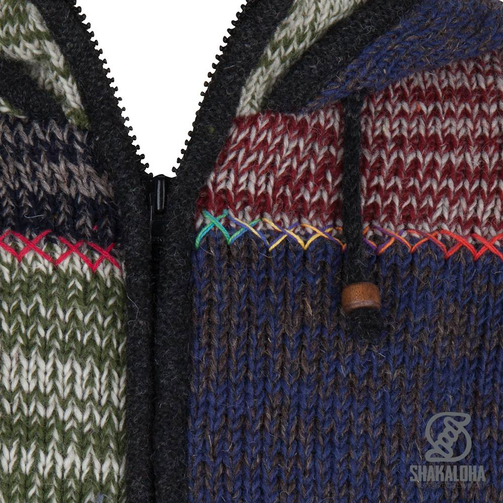 Shakaloha Shakaloha Veste en Laine Tricoté Patch ZH Multicolore délavé avec Doublure en polaire et Capuche détachable - Hommes - Uni - Fabriqué à la main au Népal en laine de mouton