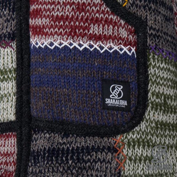 Shakaloha Shakaloha Knitted Woolen Jacket Patch ZH Faded Multicolor with Fleece Lining and Detachable Hood - Men - Unisex - Handmade in Nepal from sheep's wool