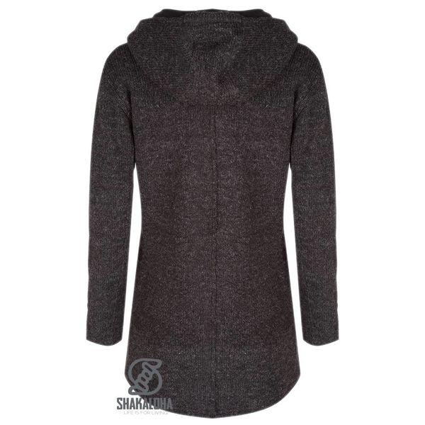 Shakaloha Shakaloha Knitted Woolen Jacket Avalon Anthracite with Fleece Lining and Hood - Woman - Handmade in Nepal from sheep's wool