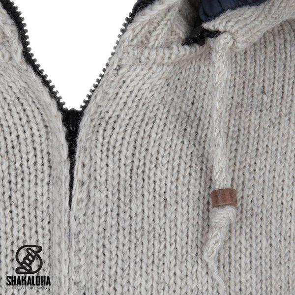 Shakaloha Shakaloha Wolljacke - Strickjacke Breaker Beige Creme mit Windstopper aus Nylon und Abnehmbarer Kapuze - Herren - Uni - Handgemacht in Nepal aus Schafwolle